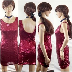 Crystal Doll  Ruby Red Sequined Mini